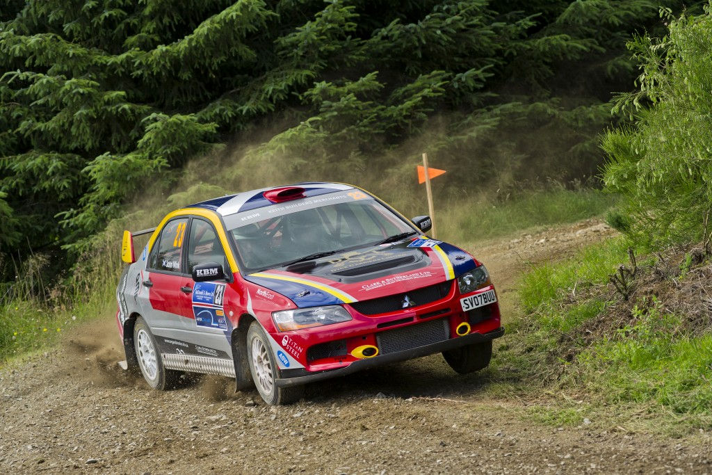 Speyside Stages Rally 2015. John Wink and John Forrest finished 15th overall in their Mitsubishi Lancer Evo 9. Picture: Daniel Forsyth. Image No.029973